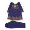 Fancy Eastern 2 Pcs Printed Suit For Girls - Blue - (PS-01)