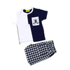 B Printed 2Pcs Suit For Infant Boys - Blue/White (I2P-04)