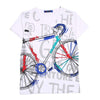 Printed Bicycle T-Shirt For Boys - White (BM5-2026)