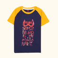 Super Hero Printed T-Shirt For Boys - Blue/Yellow (BS-01)