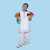 Fancy Eastern Parrot 3 PCs Suit For Girls - White (E3PC-16)
