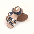 Fancy Flower Strap Sandals For Girls - Navy (0910-17)