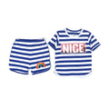 Nice Sequin 2 PCs Suit For Girls - White/Blue (013)