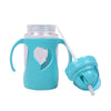 Heart Design Straw Water Bottle 300ml - Blue (6865)