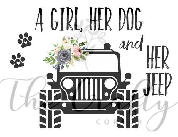 A Girl Her Dog & Her Jeep Transfer