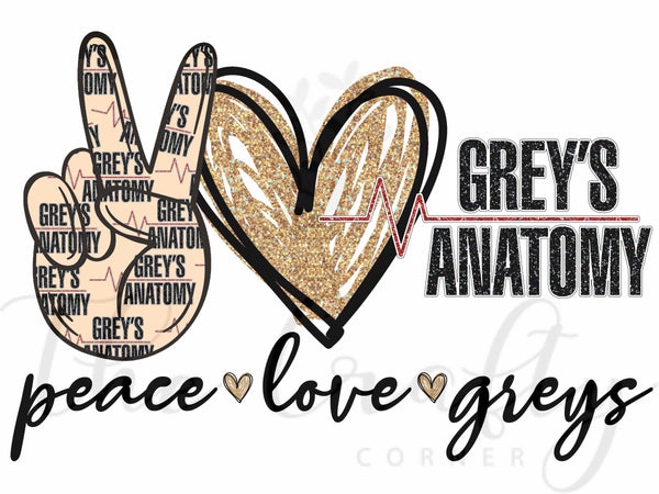 Peace Love Greys Transfer