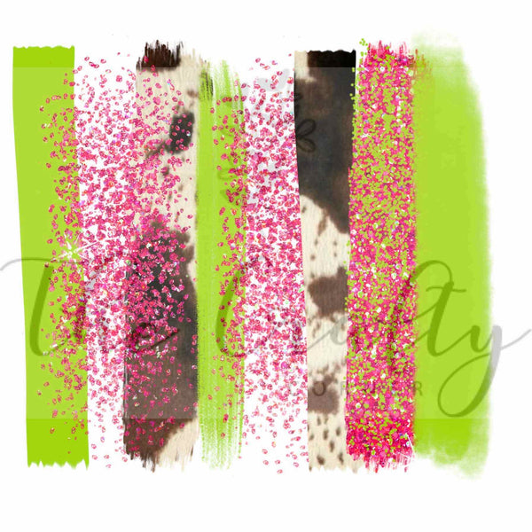 Cow Print & Glitter Brush Strokes