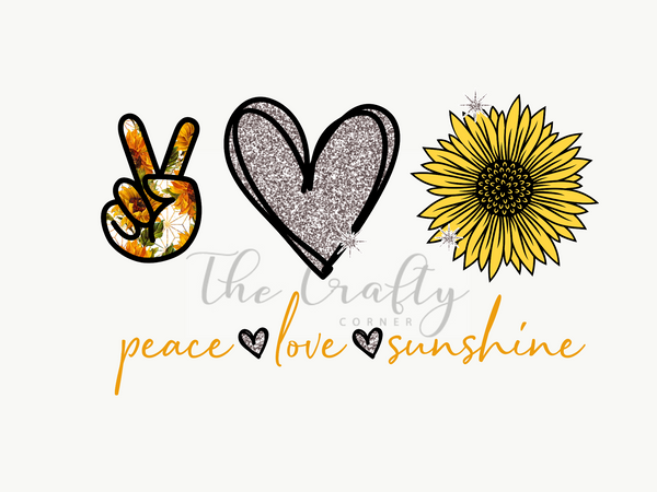 Peace Love Sunshine ADULT Screen Print Transfer