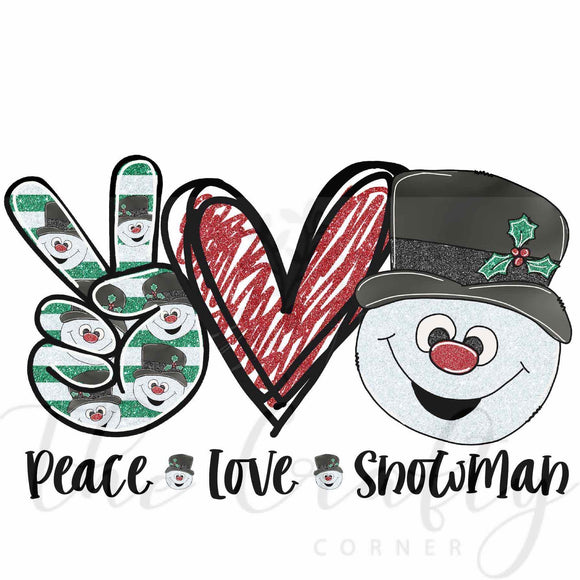 Peace Love Snowman Transfer