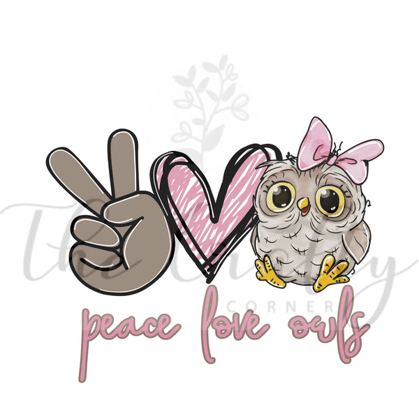 Peace Love Owls Transfer