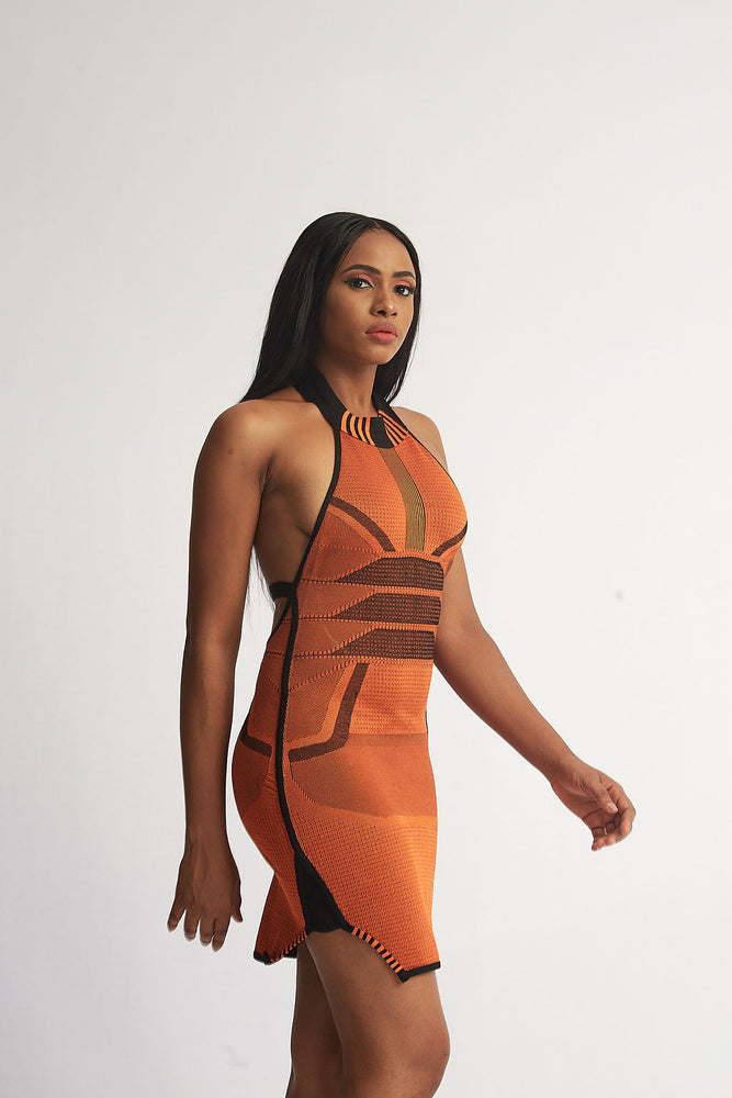 Aztek Orange Dress