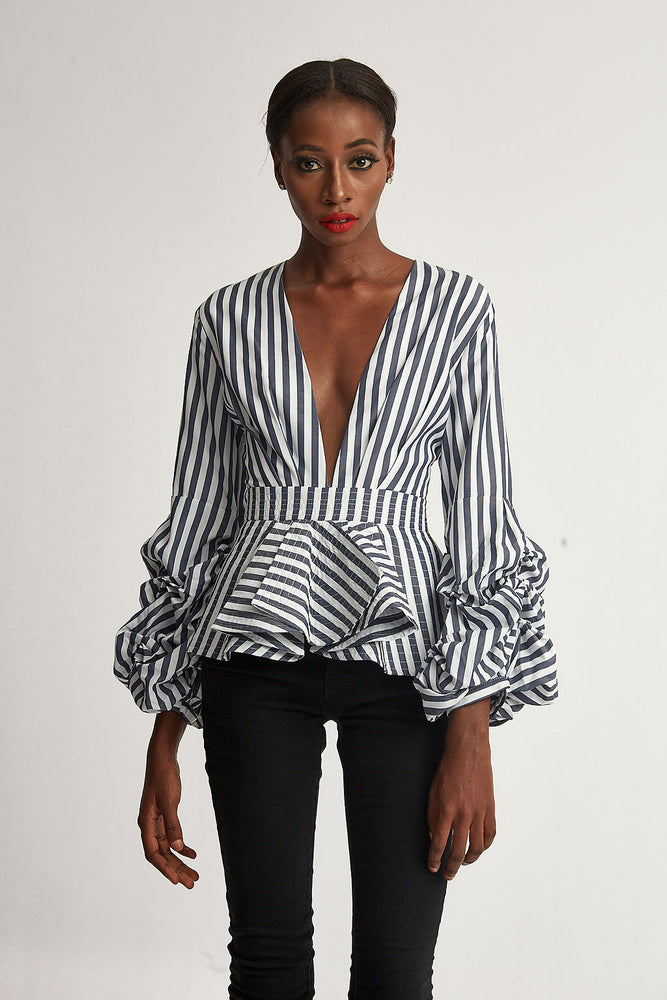 Blue and White Stripped Ruffle Blouse
