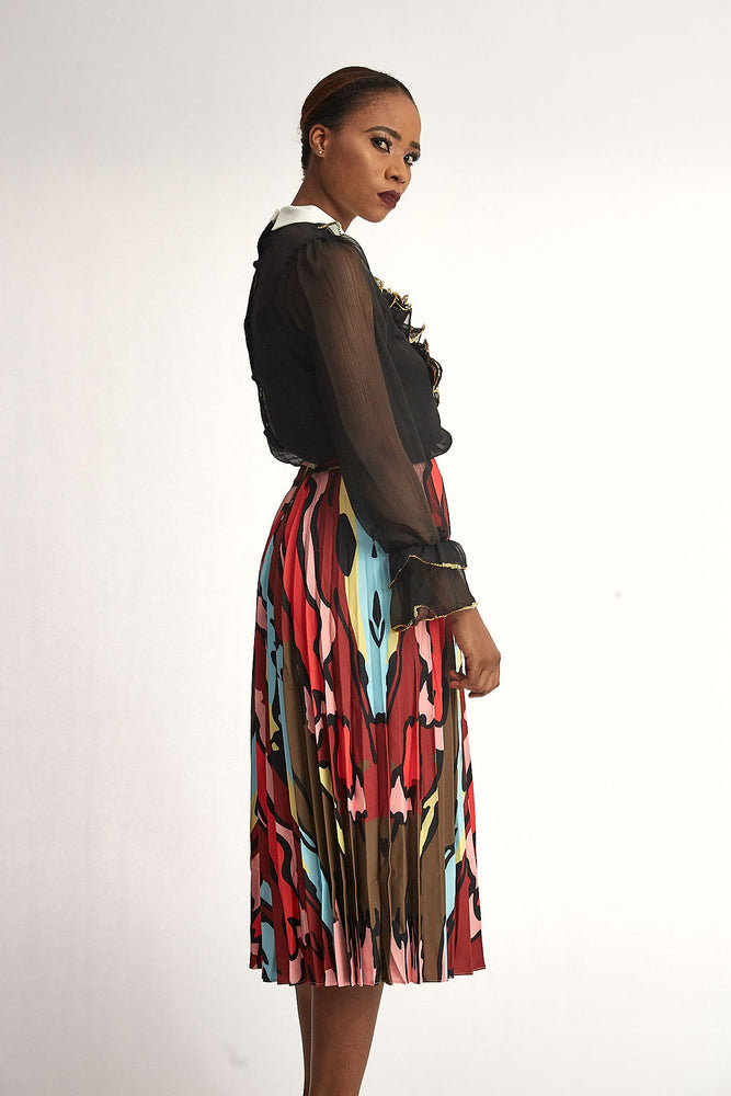Multi Coloured Maxi Ruffle Skirt
