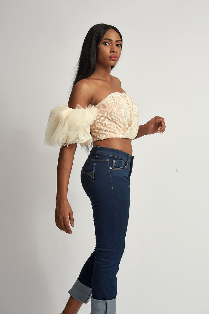 peach lace off shoulder crop top