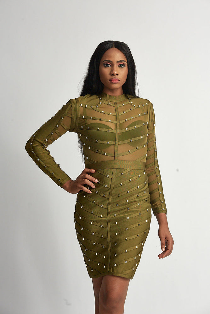 Green and gold bodycon dress