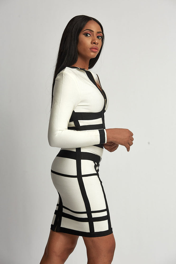 Black and White bodycon matching set