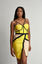 Yellow strap bodycon dress