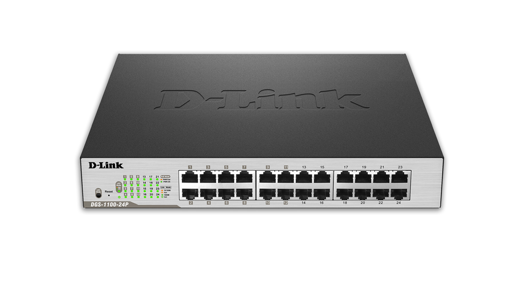 D-Link Network DGS-1100-24P 24-Port Gigabit EasySmart Switch including 12 PoE+ Ports Brown Box