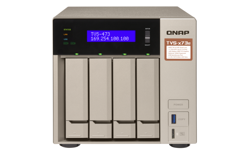 QNAP Network Attached Storage TVS-473e-8G-US 4Bay 8GB AMD R Series Quad-core 2.1GHz 10G-ready Retail