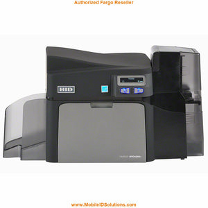 HID FARGO, DTC4250E SINGLE SIDED PRINTER WITH USB AND EITHERNET INTERNAL PRINT SERVER, INPUT AND OUTPUT HOPPER ON THE SAME SIDE. 3 YR WARRANTY.