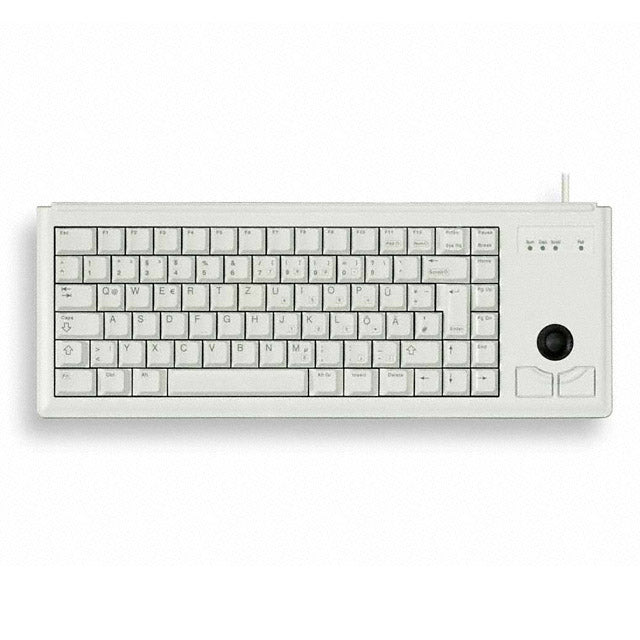 CHERRY, G84-4420, KEYBOARD, 15IN ULTRA SLIM, 83 KEY, INTERNATIONAL LAYOUT, LIGHT GRAY, TRACK BALL, TAMPOPRINTED KEYCAPS, USB