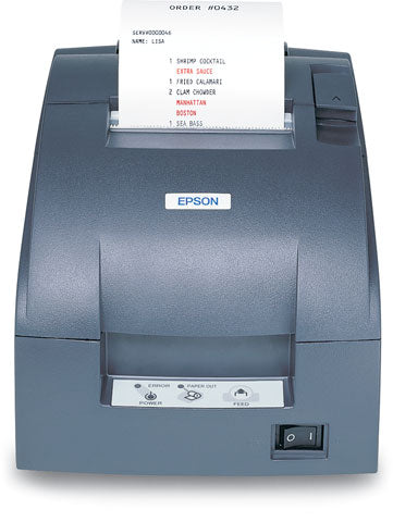EPSON, TM-U220B, DOT MATRIX RECEIPT PRINTER, ETHERNET (E04), EPSON DARK GRAY, AUTOCUTTER, ADAPTER C POWER SUPPLY INCLUDED, REPLACES C31C514667