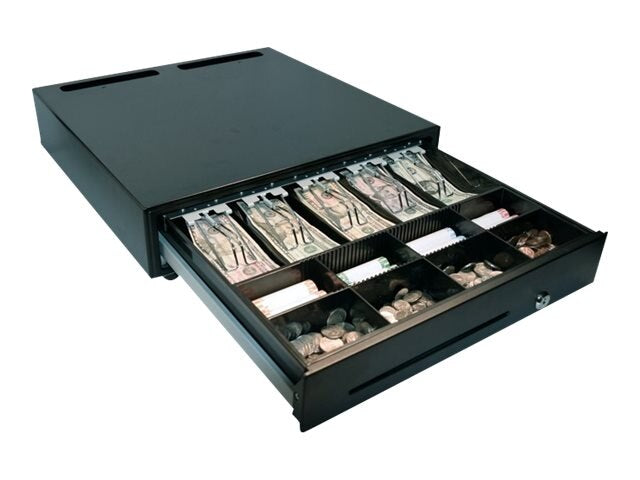 MMF, CASH DRAWER, VAL-U LINE, 18X18, PRINTER DRIVEN, RJ12-24VDC, 5 BILL / 8 COIN TILL WITH WIRE FORMED BILL WEIGHTS, BLACK