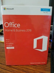 Microsoft Software T5D-02776 Office 2016 Home/Business English P2 32/64-Bit Medialess