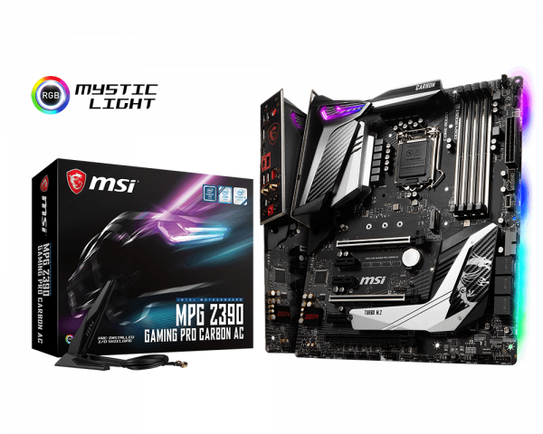 MSI Motherboard Z390GPCARAC MPG Z390 GAMING PRO CARBON AC LGA1151 Core 9000 64GB DDR4 PCI-express ATX Retail