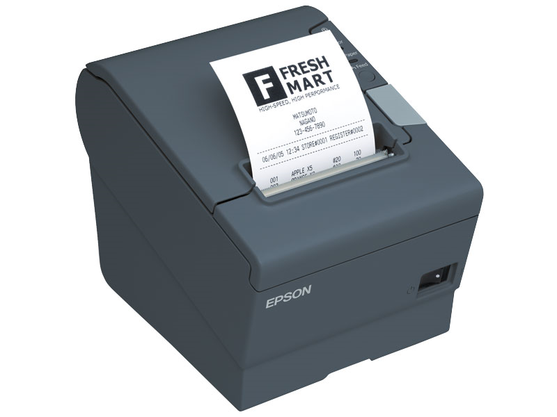 EPSON, TM-T88V, THERMAL RECEIPT PRINTER, EPSON DARK GRAY, USB & USB WITH DB9 SERIAL INTERFACES, INCLUDES PS-180 POWER SUPPLY AND AC CABLE