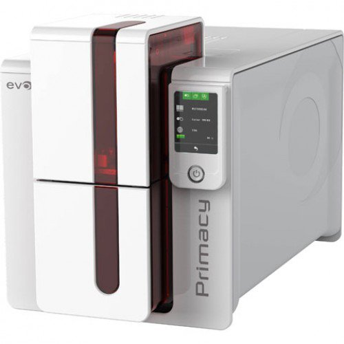EVOLIS, PRIMACY DUAL SIDED PRINTER WITH LCD SCREEN, RED TRIM