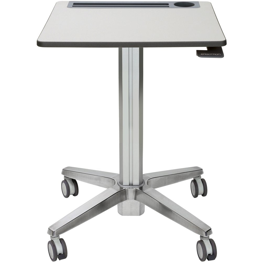 Includes adjustable-height base, worksurface with intergated cupholder, tablet s