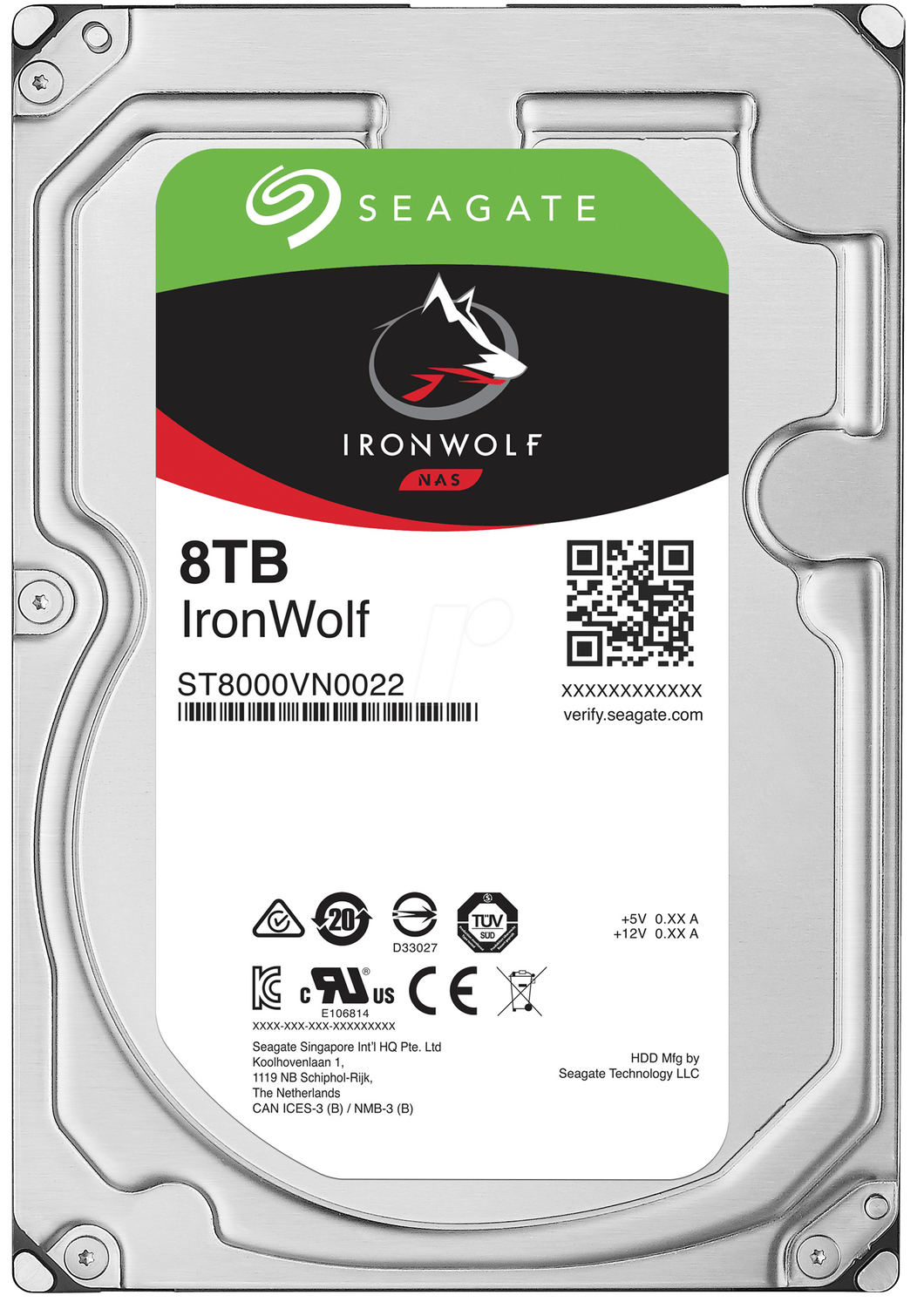 Seagate Hard Drive ST8000VN0022 8TB SATA 6Gb/s 7200RPM 256MB IronWolf 3.5inch NAS HDD Bare