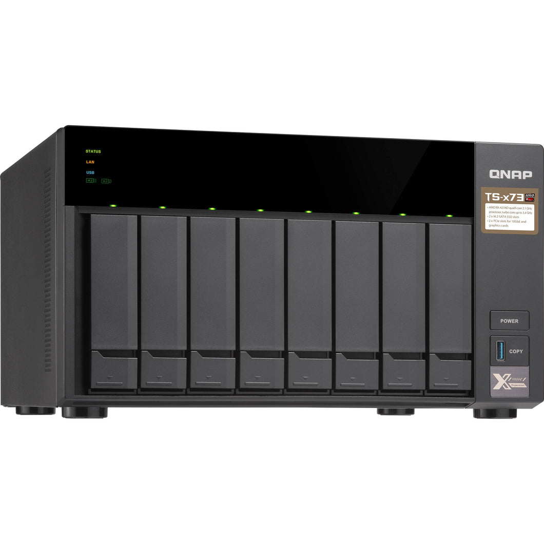 QNAP Network Attached Storage TS-873-4G-US 8Bay AMD RX-421ND 4GB DDR4 8x 2.5/3.5 inch 4x GbE LAN Retail