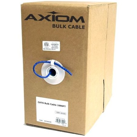 Axiom CAT6 23AWG 4-Pair Solid Conductor 550MHz Bulk Cable Spool 1000FT (White)