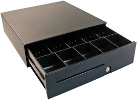APG, S100, HEAVY DUTY CASH DRAWER, MULTIPRO 12V, BLACK, 16X16, ADJUSTABLE DUAL MEDIA SLOTS, FIXED 5X5 TILL, REQUIRES CABLE