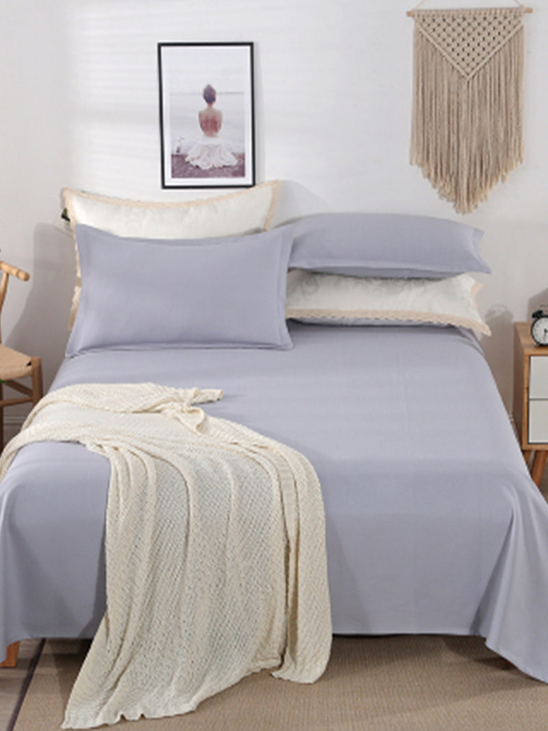 LZ   Hemp Cotton Blended Mat Pillowcase Three - piece Four Seasons Breathable Pure Color Contracted Bedding