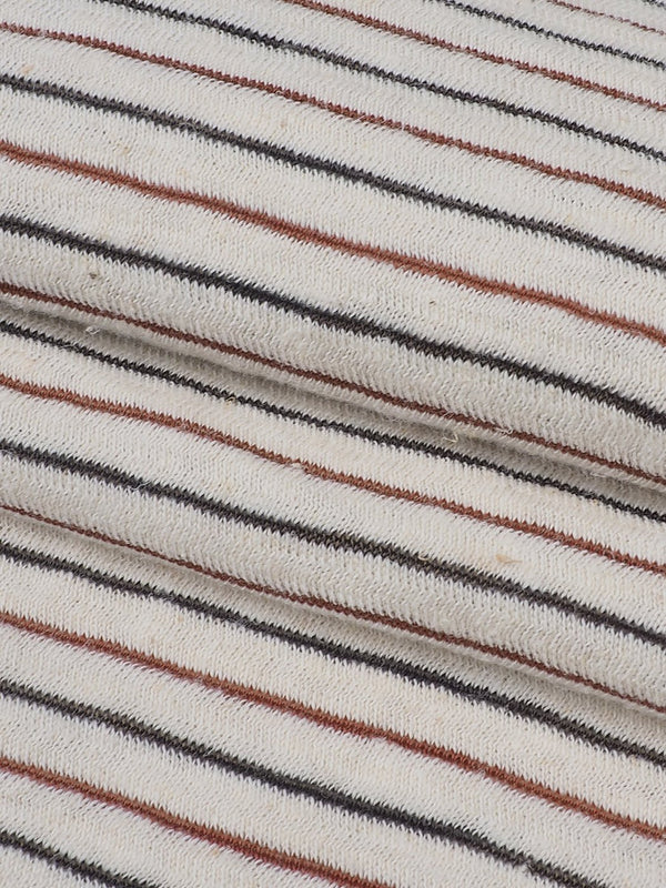 Hemp, Organic Cotton & Recycled Poly Light Weight Stripe Jersey Yarn Dyed Fabric(KJ21A818A Natural/Black/Red Stripe) - Hemp Fortex
