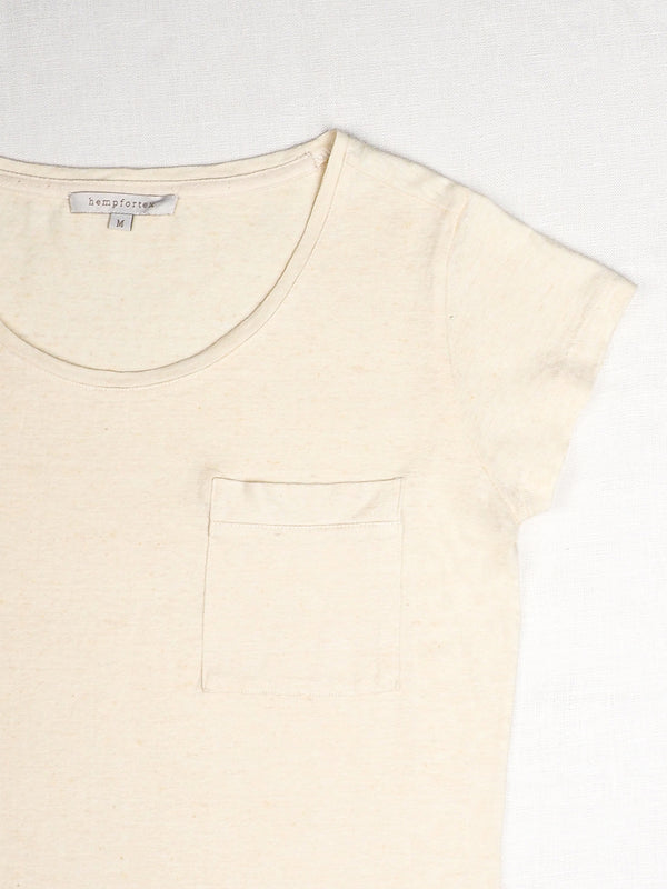 Hemp, Organic cotton Round Collar T-shirts With Pocket (Two Colors Available ) ( 17SS019W )