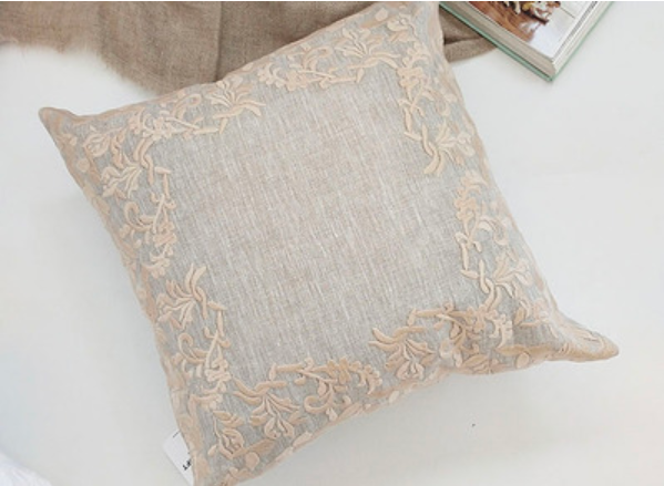 YM   Flax Hemp Embroidery Embraces Pillowcase Sofa Sitting Room Headrest Cushion Cover Back Does Not Contain Core