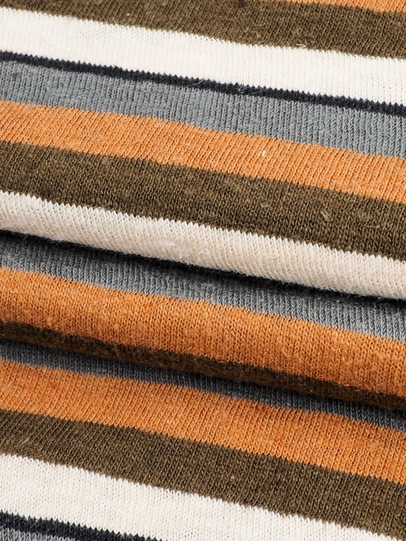 Hemp & Organic Cotton Mid-Weight Yarn Dyed Stripe Jersey( KJ21E820B)