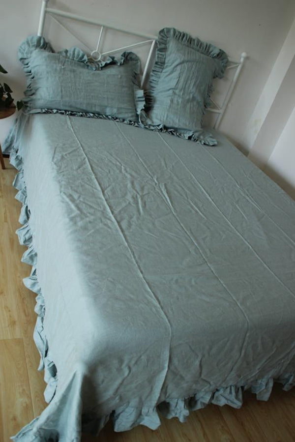 YM   European And American Style Hemp Sheet Lotus Leaf Edge Bed Linen Washing 100% Fresh And Comfortable And Durable