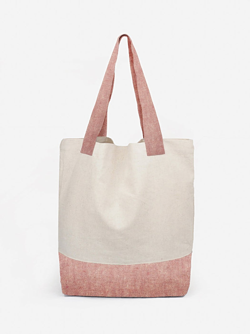 White Pink Recycled Hemp Tote
