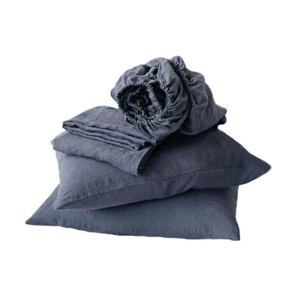 YM   Enzyme Hemp Four pieces Set of Cool Smoke Blue Sheet And Bed Roble Set