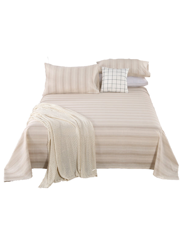 LZ   Hemp Cotton Blended Pillowcase Bed Sheet Quilt Cover Four - piece Set Soggy Air Stripe Bedding