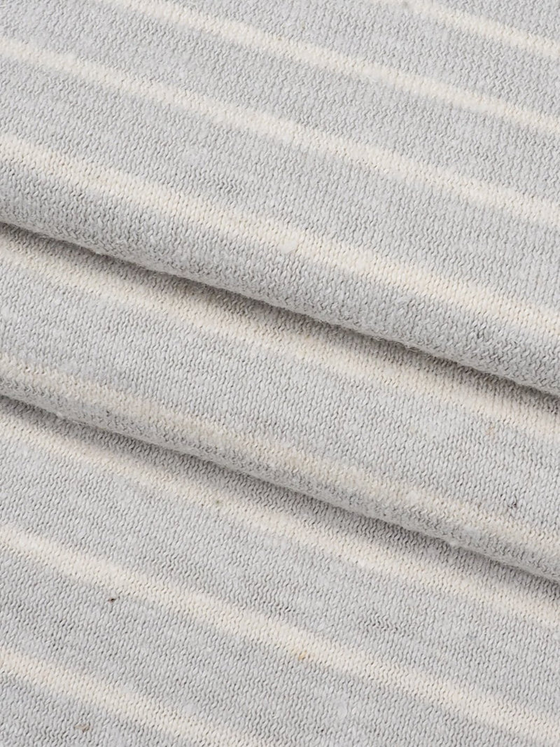 Hemp & Organic Cotton Light Weight Stripe Jersey Fabric(KJ16A829A Gray/Natural Stripe) - Hemp Fortex
