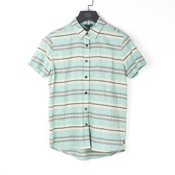 Hemp & Organic Cotton Women's Short Sleeve Checked Shirt (BST013)