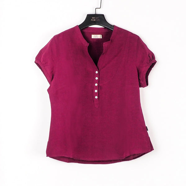Hemp , Silk & Tencel Women's Short Sleeve Shirt (BST018)