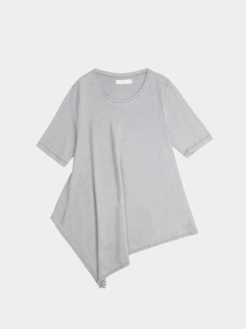 Hemp, Organic Cotton Blended Women's Asymmetrical Hem Short-Sleeved T-shirt ( HTCQ04 )