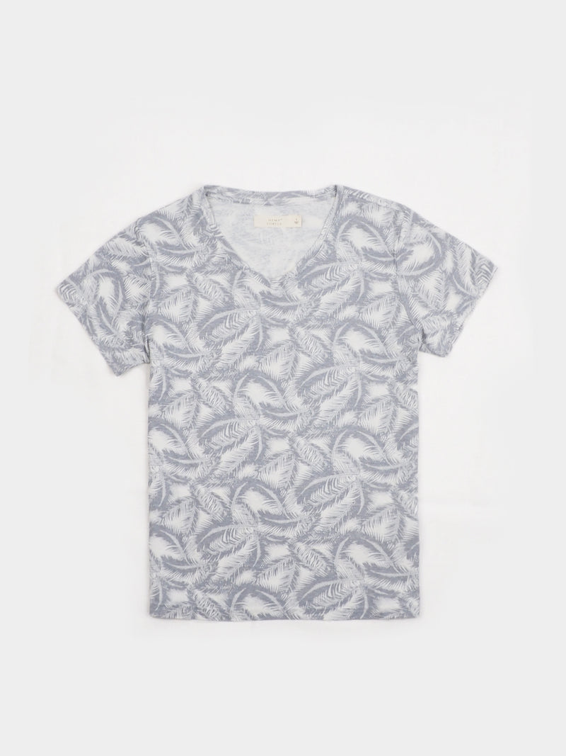 Hemp, Organic cotton Blended V-neck Women's Short-sleeved printed  T-shirts(HTCQ14) ( 5 Color Ways Available)